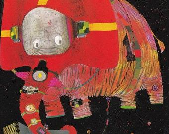 spaceship space astronaut elephant planets colourful 60's mid century retro children's illustration nursery decor Brian Wildsmith 8.5x12 in