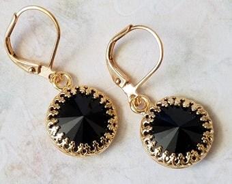 Black Crystal Rhinestone Earrings Swarovski Black Dangle Earrings Gold Crown Rhinestone Earrings Crystal Drop Gold Dangle Earrings
