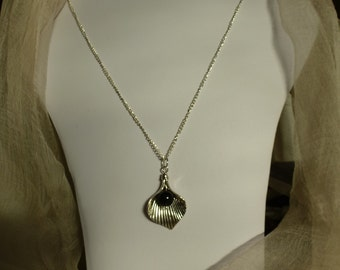 Cala lily and Swarovski pearl pendant on  23inch (59cm) silver plated chain.  Birthday gift