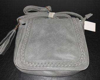 Monogrammed Gray tassled fashion crossbody