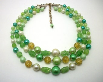 Green Glass Beaded Tiered Necklace - VIntage 50s Choker - Japan