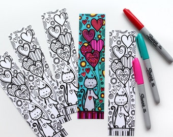 Bookmark cat bookmark coloring, balloons in the shape of heart, Valentine