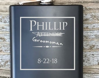 Personalized Groomsman 2 Humor Flask Engraved Bachelor Party Gift Groomsmen