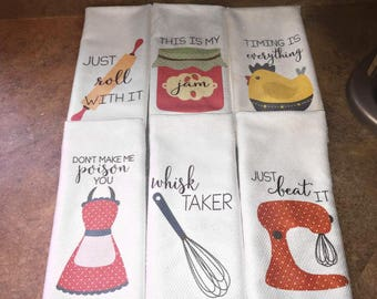 Funny Dish Towels - Foodie Gift - Unique Kitchen Towels - Gift for Wedding Shower - Fun Hostess Gift - Funny Kitchen Decor - Gift for Chef