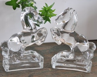 Beautiful vintage pressed glass horse bookends
