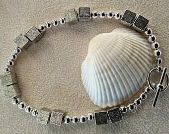 silver cube bead bracelet
