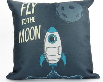 Fly to the Moon Retro Space Ship Image - Pillow Cover