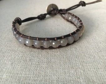 Wrap Bracelet / Leather Bracelet / Gray Agate Leather Wrap
