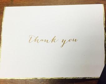 Gold Deckle Edge Thank You Card + Envelope