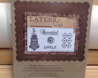 Unity Stamp Layers of Life BEAUTIFUL Every Little Thing red rubber stamp set Unused