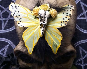 Bird Skull and Yellow Butterfly Hair Clip...Los Muertos, Day Of The Dead, Hair Accessory....Pin-Up, Rockabilly, Burlesque, Gothic, Lolita