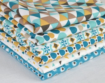 Set of 6 patchwork fabric patches Turquoise / Mustard 50 x 50 cm