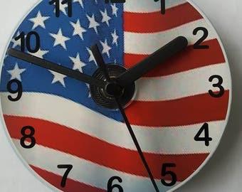 Stars and Stripes / Flag / USA CD Wall Clock