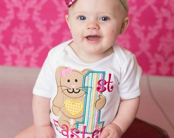 Girls 1st Easter Bodysuit or Shirt, My First Easter, First Easter Bunny, Bunny Rabbit Shirt, Embroidered Applique Shirt or Bodysuit