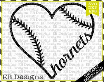 Hornets Baseball Love SVG DXF EPS Cutting Machine Files Silhouette Cameo Cricut Vinyl Cut File Softball Vector svg file