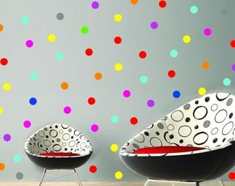 Polka dots wall decal, Wall decor Polka dot decals, Mixed colors Polka Dots Pattern, 2 inch wall decal dots, Bedroom Nursery Playroom