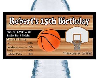 20 BASKETBALL birthday party favors water bottle labels ~ glossy ~ waterproof ink