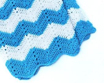 Blue & White Afghan Baby Blanket