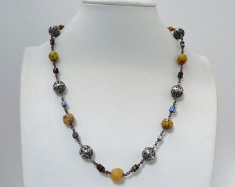 Trade Beads Necklace //  Antique Venetian Glass Trade Beads // Silver Coral Beads // Tribal Necklace // Vintage Jewelry