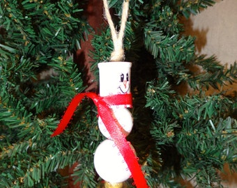 Hand made wooden snowman  ornament by Debbie Easley 41