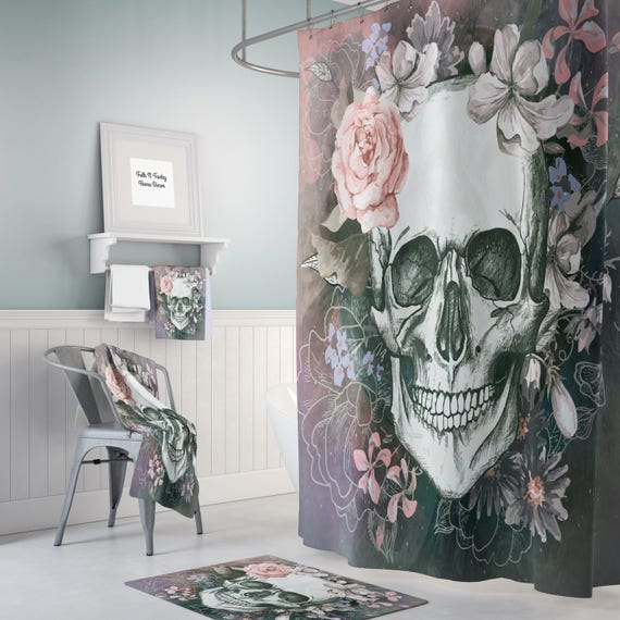 Day Of The Dead Bathroom Set: Sugar Skull Shower Curtain Day Of The Dead-Soft Gray Floral