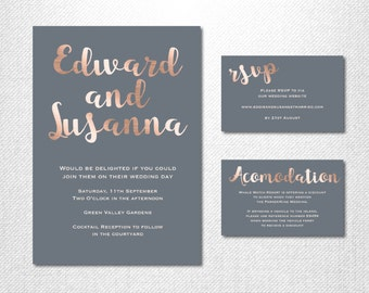 Rose Gold Wedding Invitations ~ Rose Gold Wedding Set ~ Scripted Font Invitation ~ Wedding Invitation Suite ~ RSVP Cards ~ Wedding RSVPs