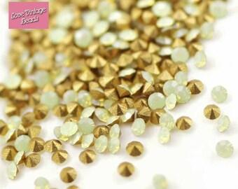 40x Swarovski Crystal Chatons Yellow Opal 1100 Foiled PP9 4SS 1.5mm Nail Art / Repairs