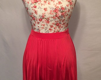 90s coral red high waist pleated high low skirt