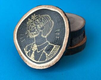 Boyfriend, Hand Illustrated Wooden Coaster