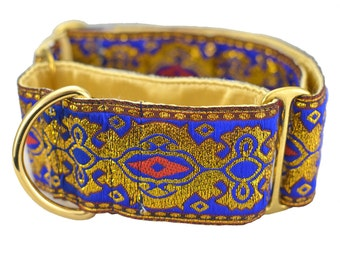 Martingale Collars,Greyhound,2 inch Martingale Collar, lined Silk stain with brass hardware