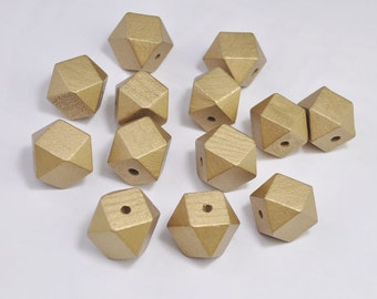 20pc Gold Geometric Wood Beads,Hand Painted wood Bead 20mm,spaced bead,Polygonal,DIY Geometric necklace/keyring,Make jewellery for selling