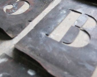 vintage french copper stencils, alphabet, numbers, pochoirs