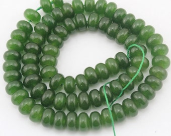 dark green Jade Beads ,One Full Strand,dark green Stone Beads Jade Beads  Gemstone beads --5*8mm--15  inches--approx 80 Pieces--EBT108