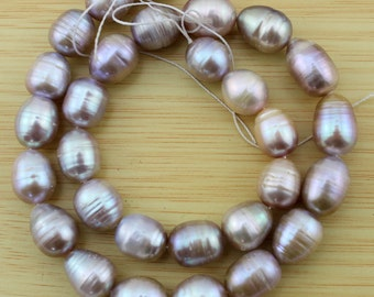 Natural Pearl 10-11mm Rice Pearl Beads,Freshwater pearl Beads,Pearl Beads,One Full Strand,Gemstone Beads--28 Pieces---15.5 inches--FS34