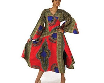 African Traditional Print Wrap Dress