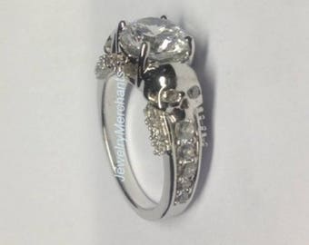 skull engagement ring 225 ct white lab sapphire round gothic wedding ring 925 sterling silver 14k - Gothic Wedding Rings