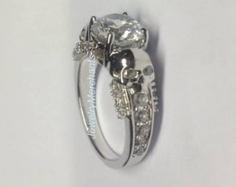 skull engagement ring 225 ct white lab sapphire round gothic wedding ring 925 sterling silver 14k - Goth Wedding Rings