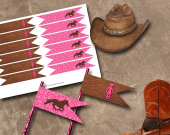 Cowgirl Straw Flags Instant Download Printable Straw Flags