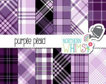 Purple Digital Paper - plaid in purple, lavender, black & white - diagonal and seamless patterns - tartan scrapbook paper - commercial use