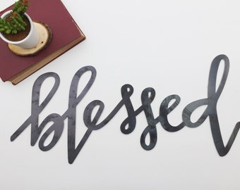 Blessed Metal Sign (Handlettered)