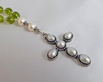 Anglican Christian Prayer Beads, Freshwater Pearl Cross with Peridot Glass, Peridot and Pearls