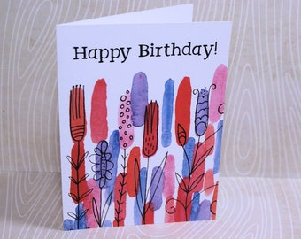 Happy Birthday Printed Watercolored Card-Birthday Card- Card-Watercolored