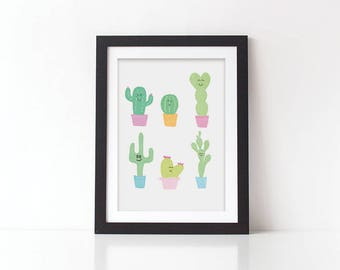 Cactus Squad Goals Print - Cacti Print - Cactus Print - Cactus Illustration - Cactus - Squad Goals