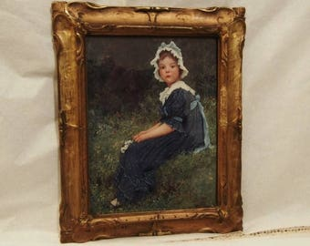 Antique Art Frame Girl Unknown Mistery Print Picture Glass Frame and Original Framed Portrait Victorian Girl