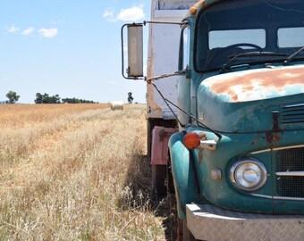 Outback Farm Wheat Field Vintage Truck Lake Cargelligo Print Photography Country Photo