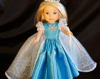 Wellie Wishers  Elsa and Anna Doll Dress fits 14 in. Dolls Crown, Wand and boots included