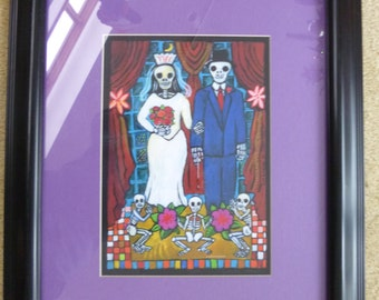 Framed pictue of Day of the Dead Bride & Groom