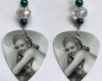 1 Pair- Marilyn Monroe Guitar Pick Earrings