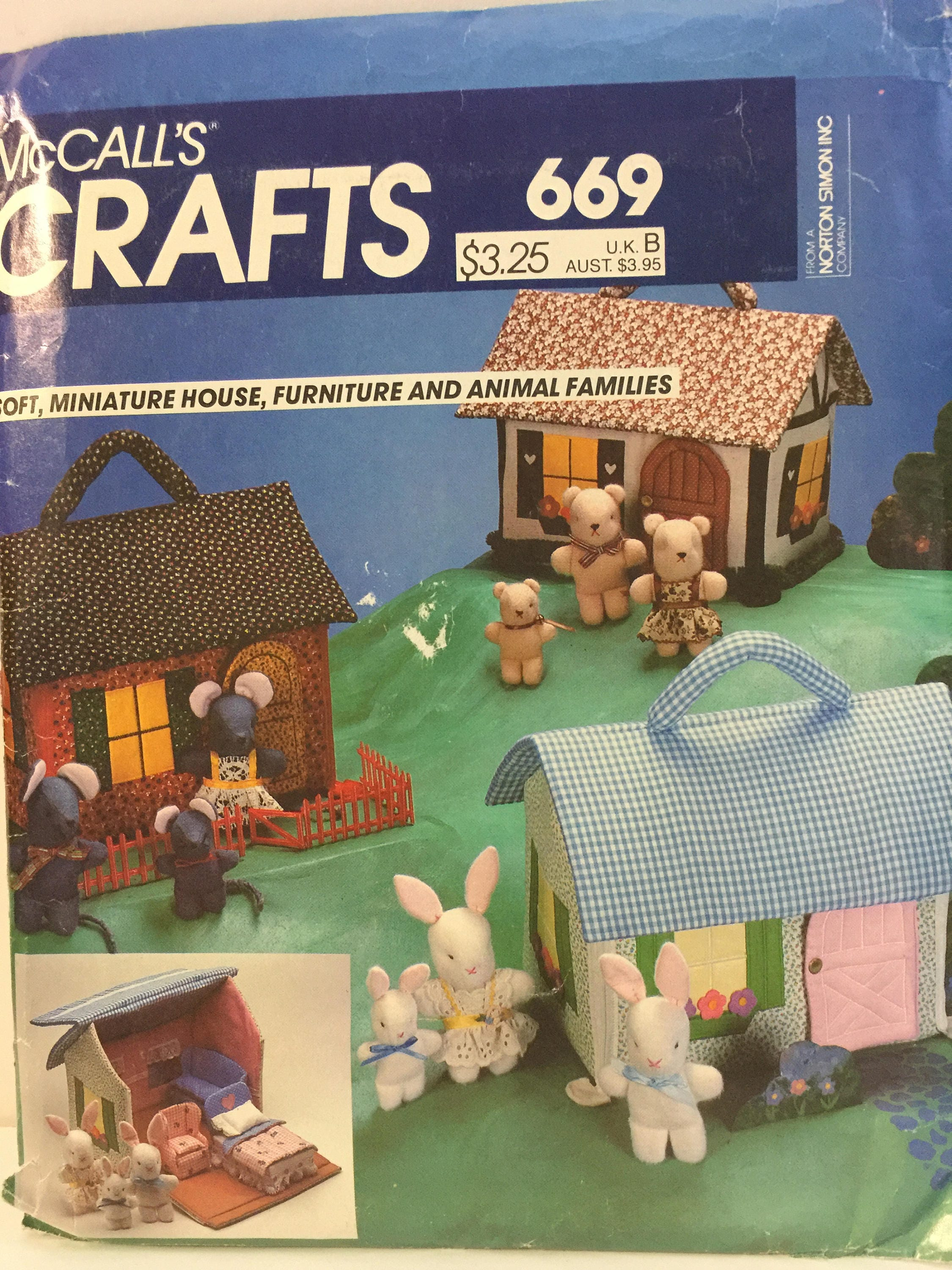 Miniature House Pattern Mccalls 669 Cloth Animals Mini Soft  # Muebles Full House Colombia