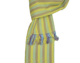 100% cotton handmade Pear colored , teal and mauve striped scarf shawl